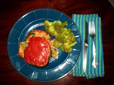 Stuffed Peppers and Broccoli Side